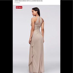 Illusion Neckline Bridesmaid Dress - Floor Length